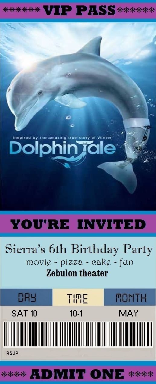 Dolphin tale birthday invitation