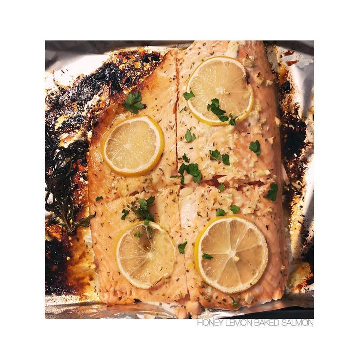 BAKED SALMON WITH LEMON HONEY & GARLIC   #salmon #bakedsalmon #honey #honeybee #lemon #salmonrecipe #meatlessmeals #sustainability #sustainableliving #pescatarian #salmonrecipes #fish #seafood #mer #sea #seaside #healthy #laeats