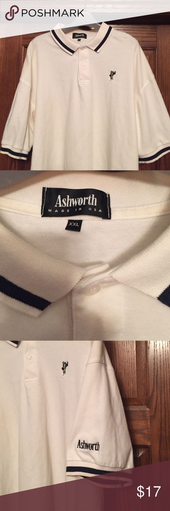 Ashworth golf polo xxl Ashworth polo white with blue logos.  Great condition. Smoke free Ashworth Shirts Polos