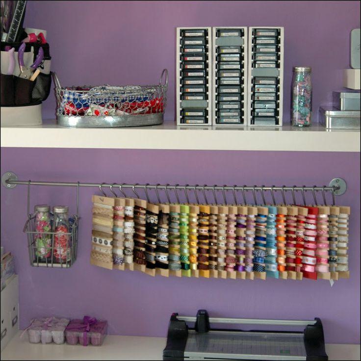 Ribbon Rod Storage: Ribbon Storage, Ribbons Storage, Iii Botones, Storage System, Crafts Room, Crafts Storage, Crafty Storage, Crafts Organic, Storage Ideas
