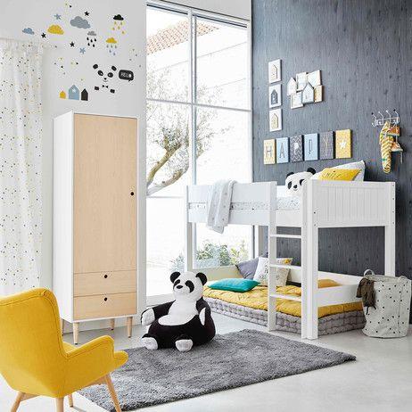 Kinderhochbett 90 x 190 cm aus Holz weiß Tonic   Maisons du Monde