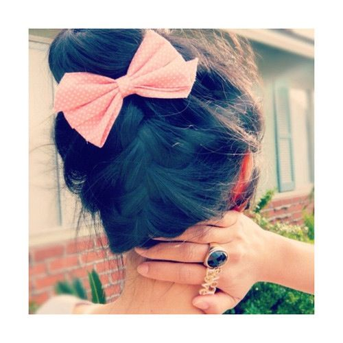 up side down braid    make it look even cuter with a bow.