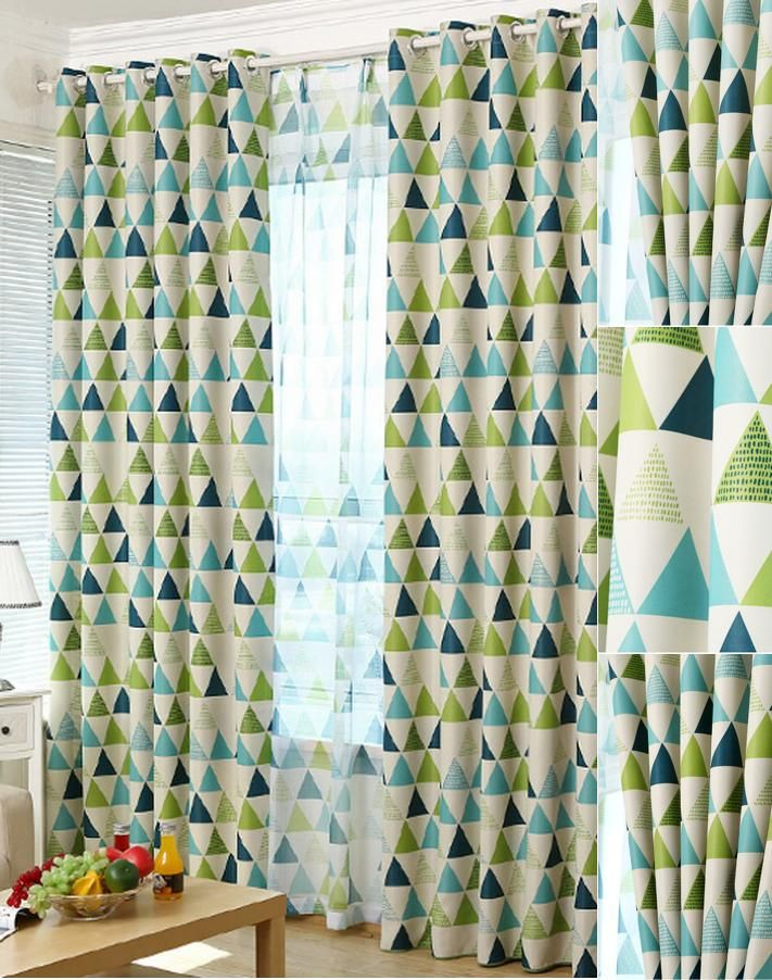 Modern Brief Blackout Green And Blue  Geometric Curtains