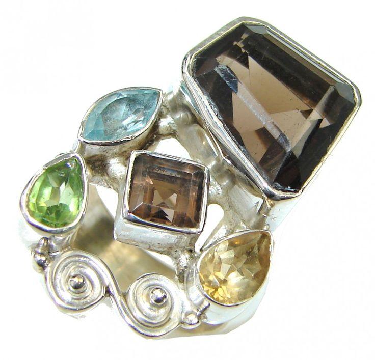 Smoky Quartz Ring : Smoky Quartz Cluster Ring 925 Solid SIlver