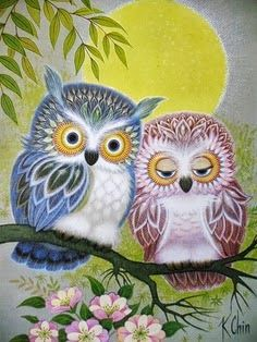 moon owls by K. Chin