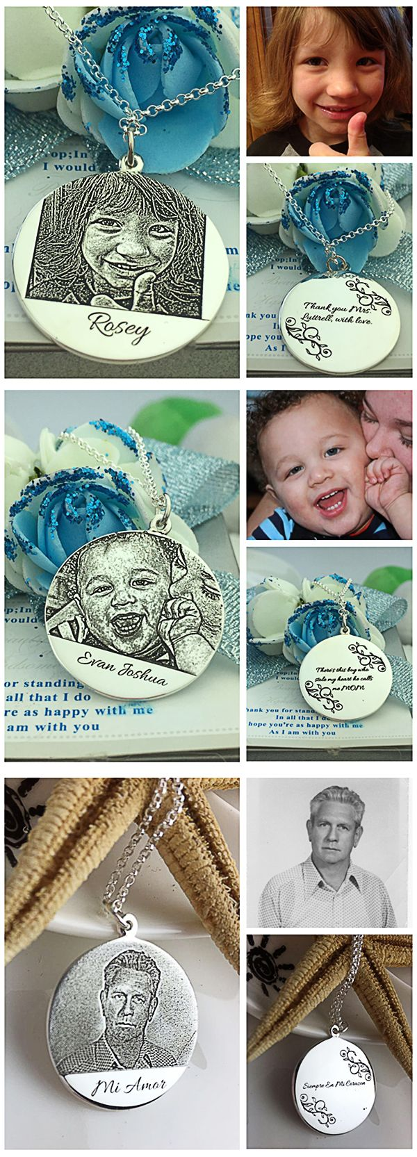 Personalized Photo-Engraved Necklace Memorial Jewelry  Always in my mind, Forever in my heart  – Come and get a Photo Engraved Necklace to mark your memories last a lifetime!  Beautifully designed  pendants to display your selected picture , you can also add characters on both  sides of pendant  .It is best gift for mother