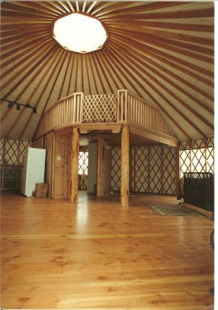 YurtInfo.org :: Yurt FAQ's - yurt loft idea. I love the idea of a loft inside for space efficiency.