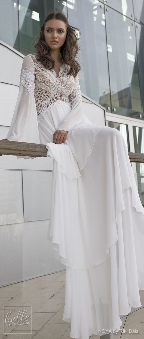 NOYA By Riki Dalal Wedding Dress Spring 2019 : Forever Bridal Collection - BELLA. Bohemian bridal gown bell sleeves #weddingdress #weddingdresses #bridalgown #bridal #bridalgowns #weddinggown #bridetobe #weddings #bride #boho #bohostyle #bohowedding #bohemian #weddinginspiration #weddingideas #bridalcollection #bridaldress #fashion #dress See more gorgeous bridal gowns by clicking on the photo