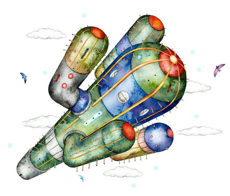 近未来のサボテンロケットのイラスト