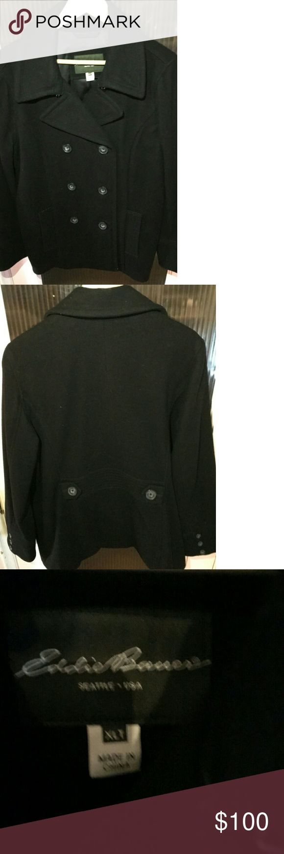 Brand New Eddie Bauer Black Pea Coat Sz XL-T This was never worn, it's brand new but no tags. No issues with it. It's a size XL tall, and it's black. Eddie Bauer Jackets & Coats Pea Coats