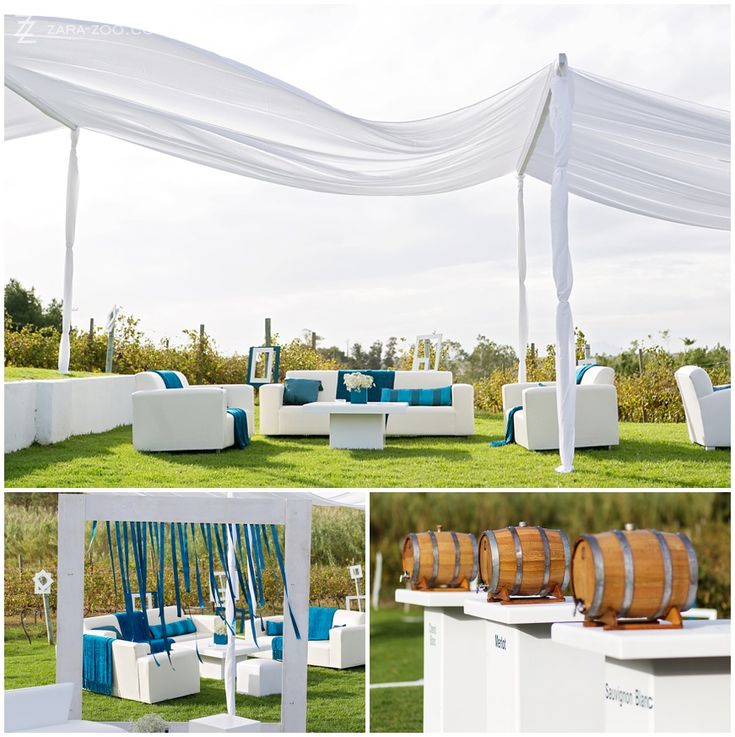 White couches with flowing material as covering for shade.  Mini wine VAT's for guests to help themselves to wine.  See more of this wedding on the ZaraZoo blog http://www.zara-zoo.com/blog/kleinevalleij-wedding/ #weddingphotography #weddingdecor
