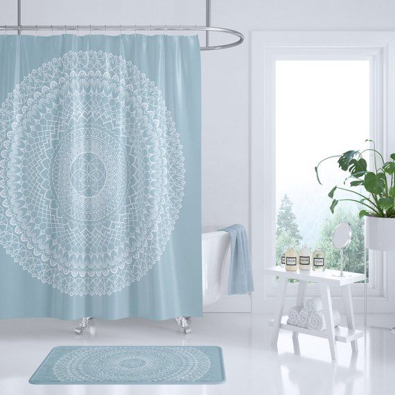 Light Blue Mandala Shower Curtain Soft Pastel Geometric