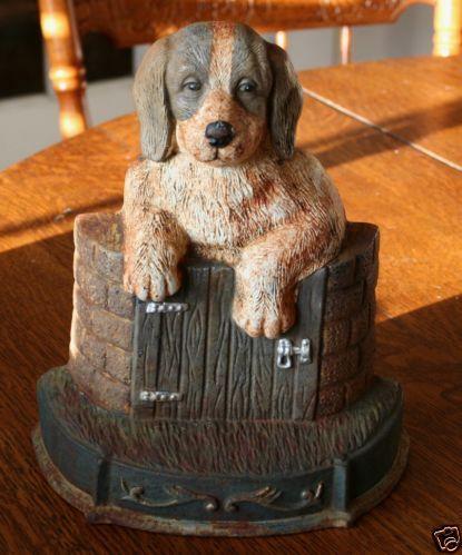 Vintage Dog Doorstop Cast Iron Hound Beagle Gate Fence