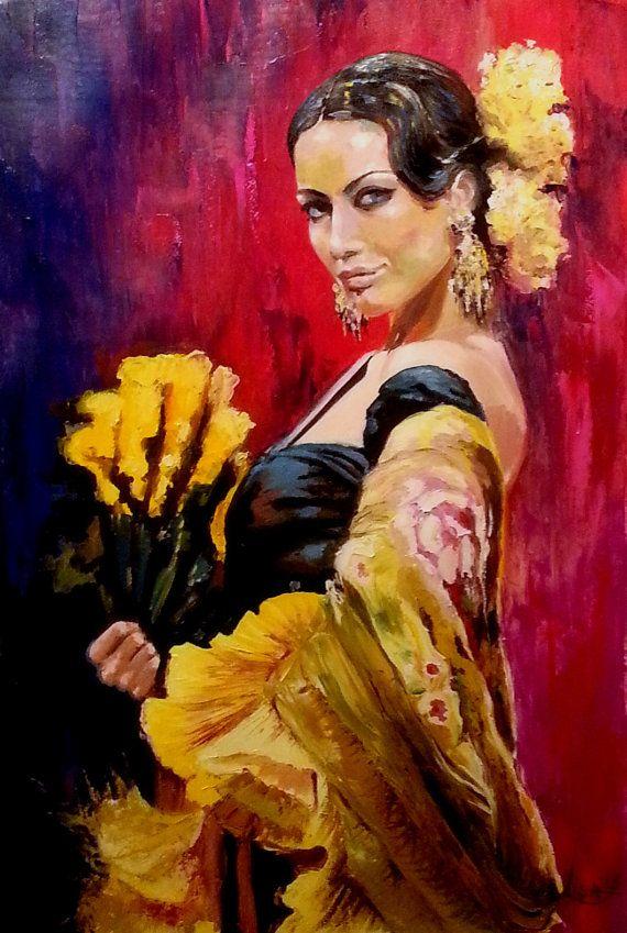 Original oil painting flamenco dancer with a fan large size tango passion - Peinture danseuse de flamenco ...