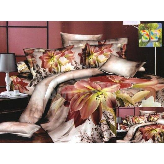 Bavlnené posteľné obliečky bielo hnedej farby s motívom ružových kvetov