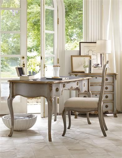 Queen Anne Desk & Chair | Graceful styling invites thoughtful writing. Cool blue-grey and warm gold leaf complement beautifully. Embellished with classic ornamental details.