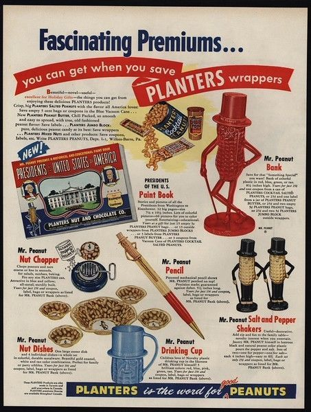 1955 PLANTERS Peanuts Novelty Gifts - Presidents Paint Book - Pencils VINTAGE AD
