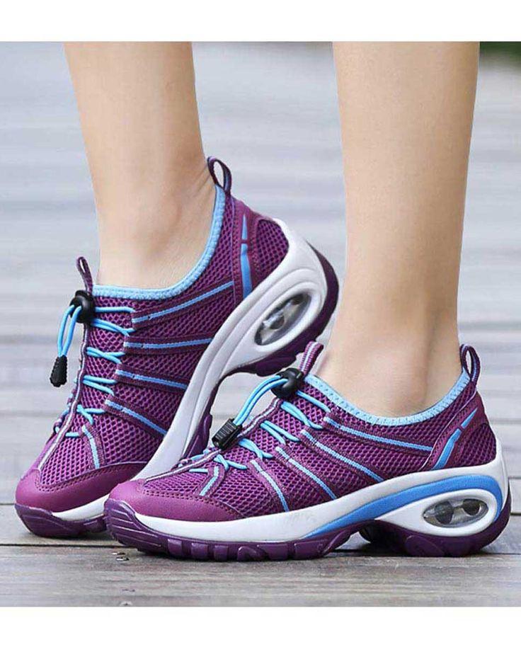 Purple hollow drawstring lace double rocker shoe sneaker