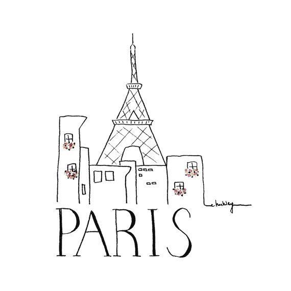 Croquis de ville Paris Illustration noir et blanc par INKUdesign