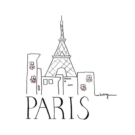 Croquis de ville Paris Illustration noir et blanc par INKUdesign