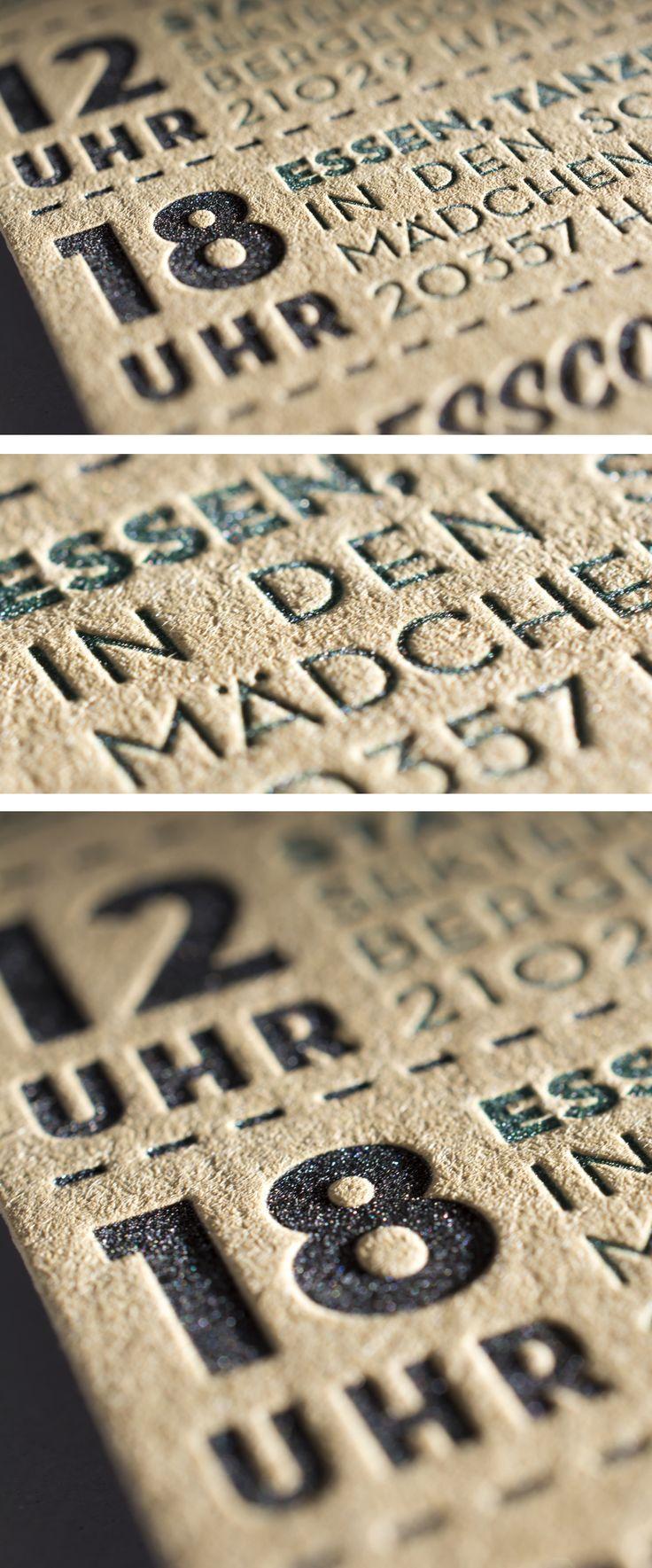 Detail Letterpress Wedding Invitation with deep impression. Paper: Fedrigoni Materica Kraft | Letterpress Manufaktur Hamburg