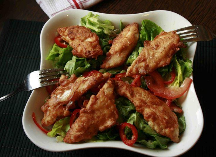 Fokhagymás csirkemellcsíkok