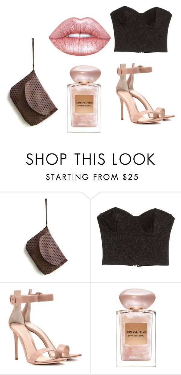 Rosé by maslindadesigns on Polyvore featuring Gianvito Rossi, Lime Crime and Giorgio Armani