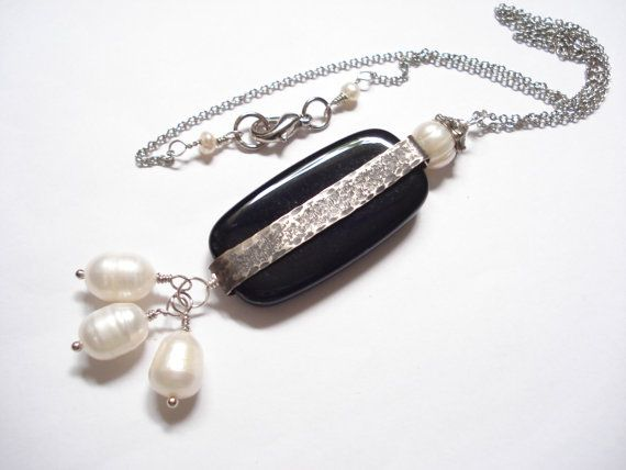 Hammered Silver Wrapped Black Bead Pearls Pendant by AnnaRecycle