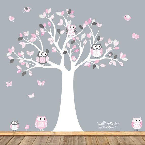 Nursery Wall Decal Vinyl Wall Decal Stickers Owl Tree Set Nursery Boy Baby chevron pattern on Etsy, $108.27 AUD