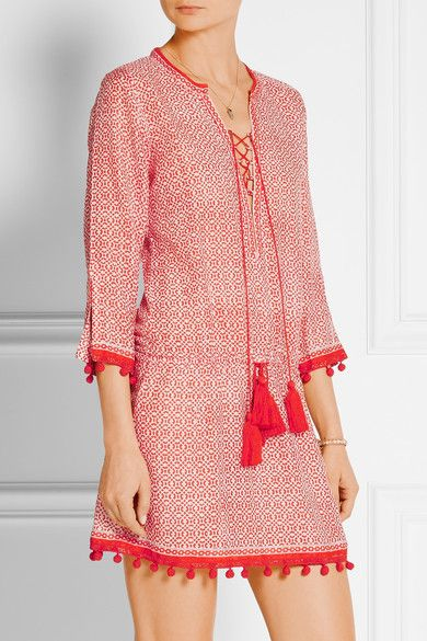 Tomato-red and white cotton and silk-blend voile Lace-up front 50% cotton, 50% silk Dry clean Designer color: Saffron Imported