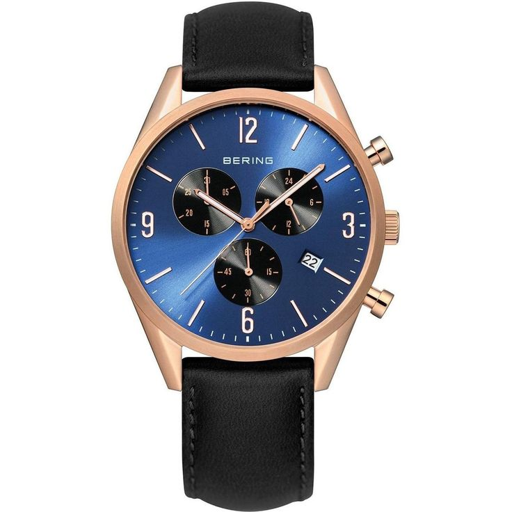 This men's watch is held together by a black leather strap with buckle closure. Complete with a blue dial protected by 50 meters water resistance.