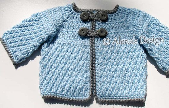 e00ca40cc Crochet Pattern 192 Diamond Baby Jacket 3 6 12 24 months