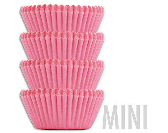 Mini Solid Pink Baking Cups 50 Pastel Pink Mini Paper Cupcake