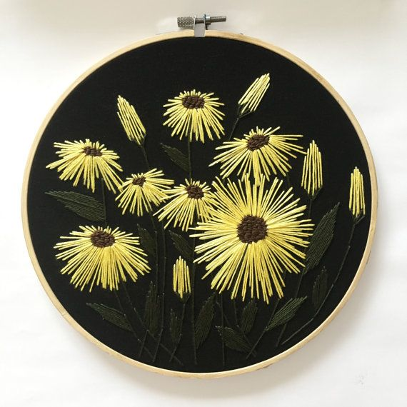 DESIGN Flowers on Black SPECIFICATIONS - 24cm / 9.4 - Cotton thread - Black Cotton fabric - Bamboo hoop - Exposed back SHIPPING Select your country for shipping costs. There are shipping upgrades available for both Australian and international customers.  I also combine postage costs for each additional item you purchase. Select your country and postage option for details. All photos are taken in natural light using an iPhone. Unfortunately, the colouring in these photos may vary, depend...