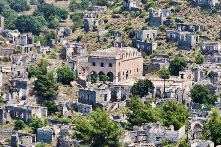 GHOST TOWN Largest Abandoned Cities Around the World 7. Kayaköy, Turkey Population loss doesn't just affect small rural cities; larger towns have fallen off the map, too. Whether for economic causes or because of natural disasters, these creepy ghost towns give a look into what would happen if humans suddenly disappeared. If you're looking for a post-Apocalyptic vacation destination, these places are your best bet.