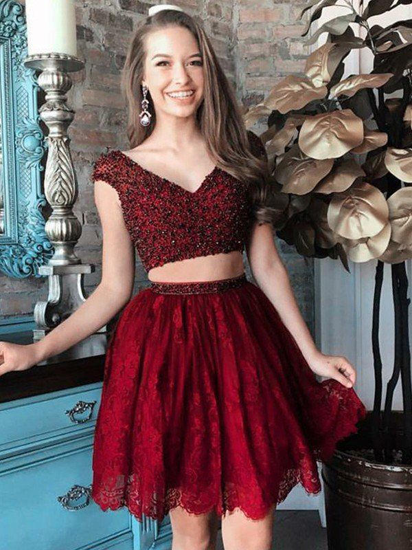 7eddee5a41b A-Line Princess V-neck Sleeveless Beading Short Mini Lace Two Piece Dresses