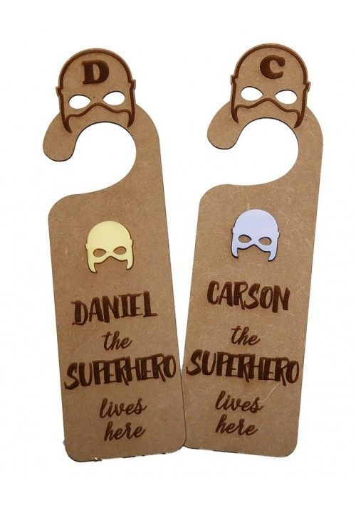 "Personalised ""Superhero lives here""Door Hanger. #littlelumps #baby #nursery #southafrica"