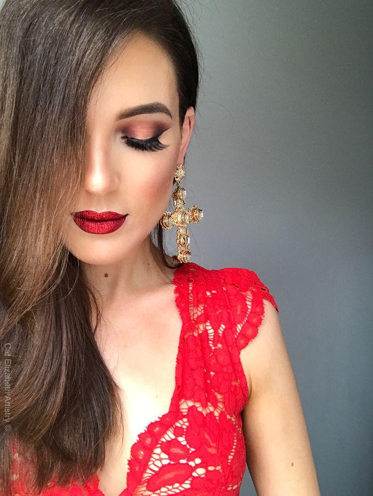 Red glitter festive glam copper eye wing