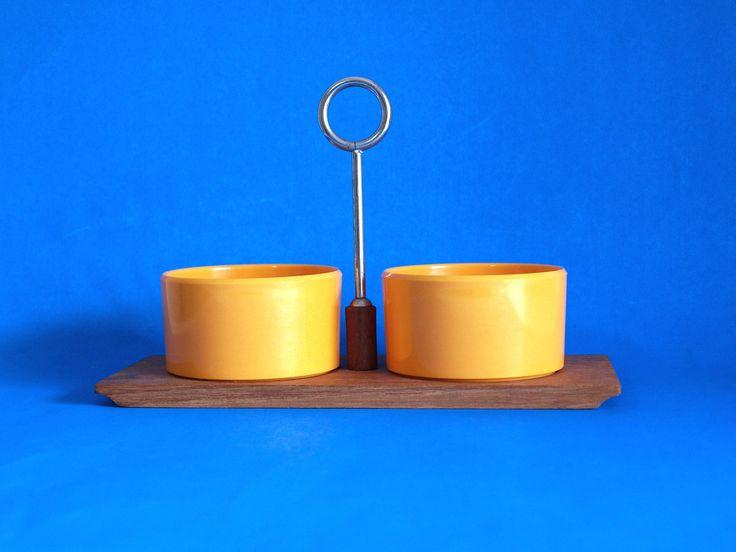 Lüthje Denmark Condiment Serving Set - Mid Century Modern Danish Scandinavian Design - Teak Chrome Snack Sets Dishes Bowls by FunkyKoala on Etsy