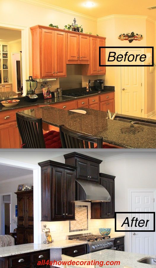 Honey oak cabinets re-stained with java gel stain.