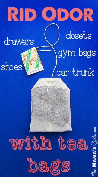 Rid odors with tea bags.~ This works. We have had a stinky closet since we moved into our house 5 yrs ago. We tried everything we could think of. It helped but still smelled until we hung a tea bag. That did the trick.