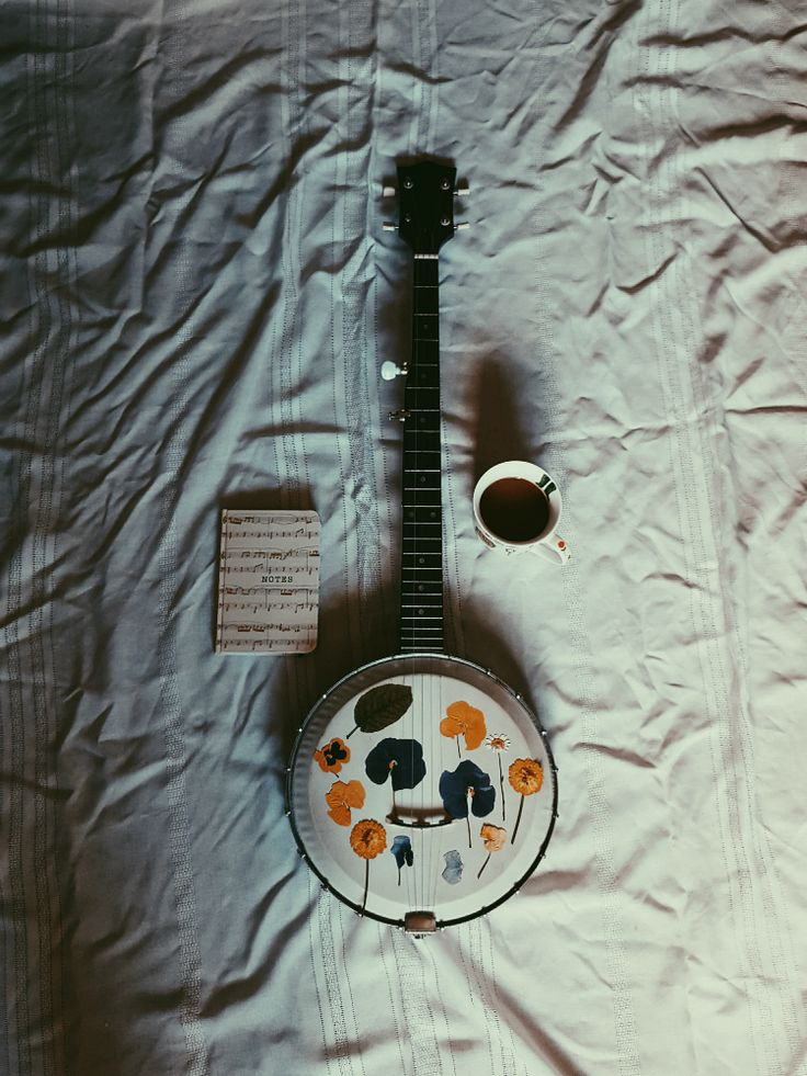 banjo, pressed flowers, gardening, garden, folk music