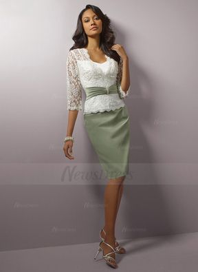 Knee length satin lace mother of the bride dress with beading