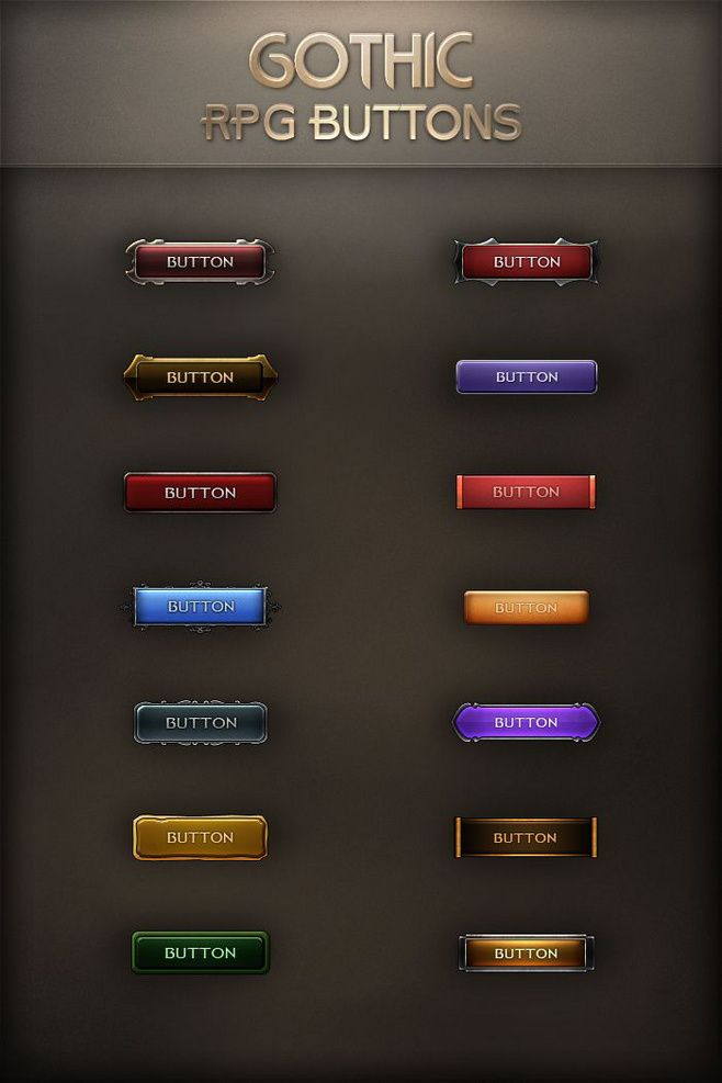 Gothic RPG Buttons b...@°.Silence采集到UI(4291图)_花瓣平面设计