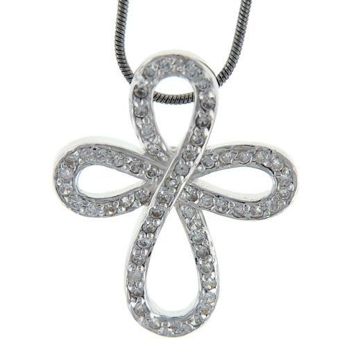 Fantasia White Gold Plated Celtic Cross Necklace hiYv0j