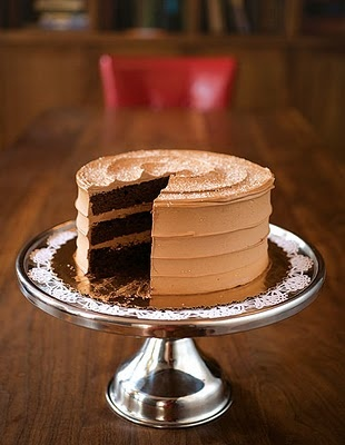 If you love the combination of sweet and salty as much as I do, then this is the cake for you:  Chocolate Cake with Caramel Ganache Icing and Fleur de Sel.
