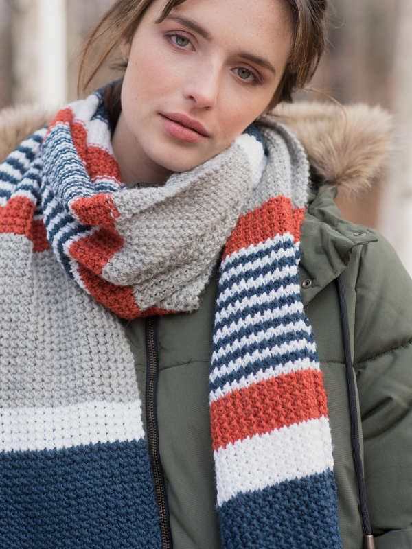 Melville Easy Striped Scarf Free Knitting Pattern Knitting And