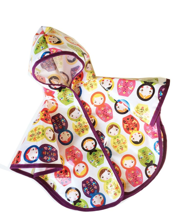 Satsuma Designs baby rain ponchos in the Russian nesting dolls pattern