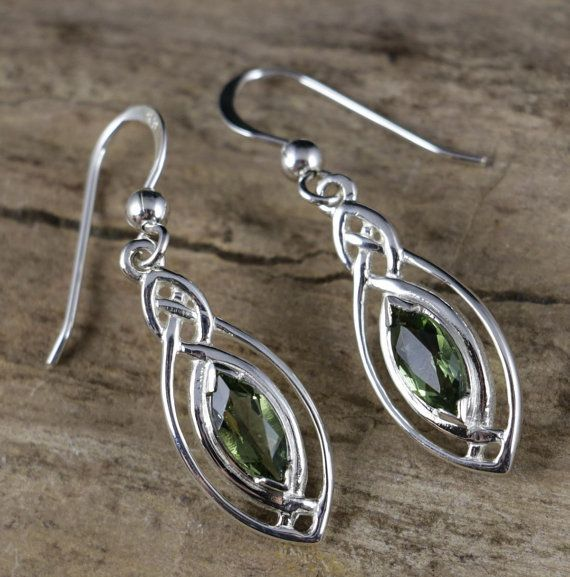 Czech MOLDAVITE Sterling Silver Earrings Moldavit Moldavites Faceted Green Gem Gemstone Tektite Meteorite Jewelry Jewellery Vltavin Original £26.64
