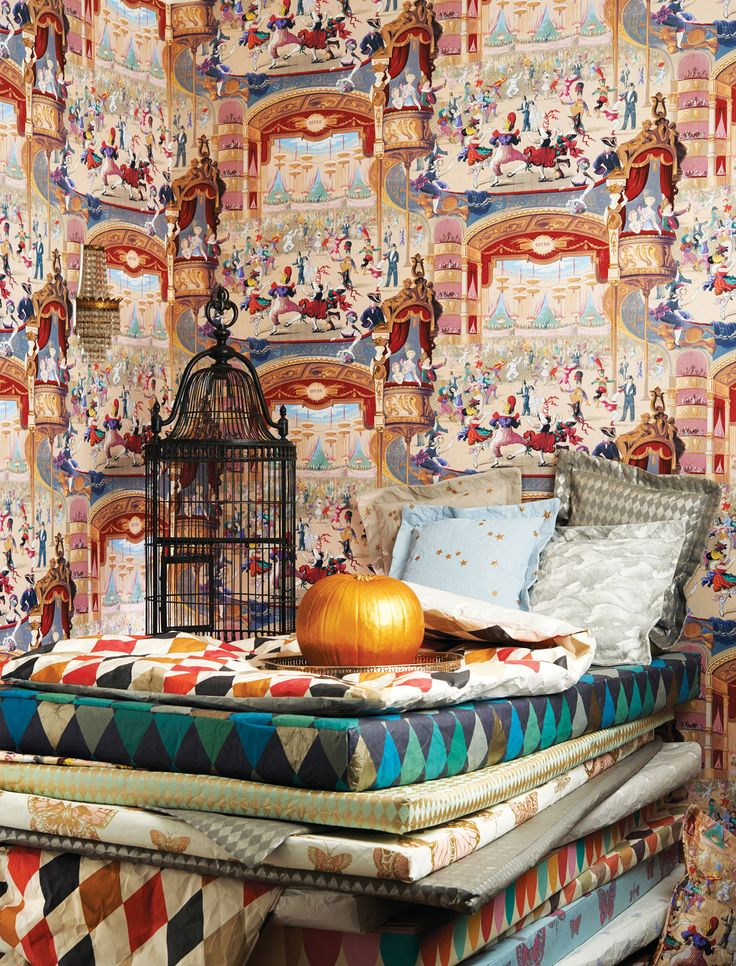 Cole & Son Whimsical featuring carnival imagery. Available from www.gilroyinteriors.com Breathing life & colour into your home! Call 0800 825 0034 for sample.